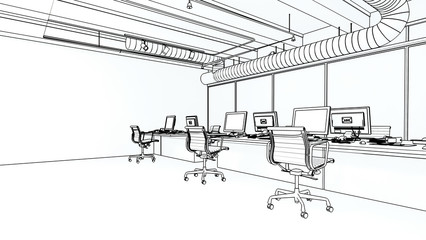 Wireframe concept interior of modern office