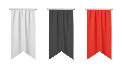 3d rendering of three rectangular black, white and red flags hanging vertically on a white background.