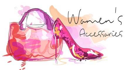 Women's day card. Women's bag and high heeled ladies shoe.