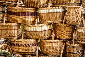 baskets at a famers market