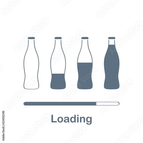 Loader or web preloader from bottles, progress bar, loading