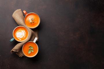 Autumn vegetarian pumpkin cream soup