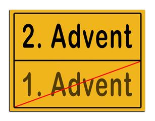 Schild 1. Advent 2. Advent