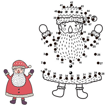 Connect the dots and draw a funny Santa Claus. Christmas numbers game for children. Vector illustration
