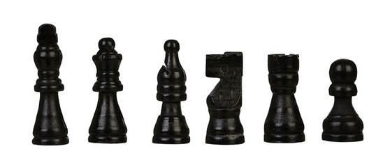 Black chessmen Isolated on White