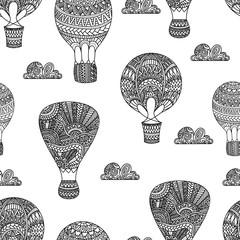 Hot air balloon, gas balloons, aircraft. Seamless black and white background.