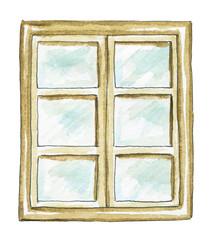 Window frame with square panes isolated on white background. Watercolor hand painted illustration
