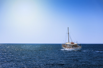 Boat trip in open sea near coast of island of Rhodes (Rhodes, Greece)