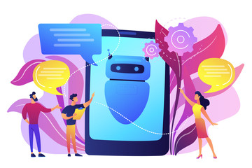Wall Mural - Business people communicate with chatbot application. Chatbot artificial intelligence, talkbots service, interactive agent support concept. Bright vibrant violet vector isolated illustration
