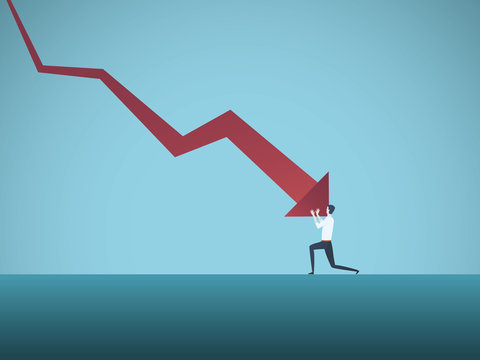Bankrupt businessman pushed by downward arrow vector concept. Symbol of bankruptcy, failure, recession, crisis and financial losses on stock exchange market.