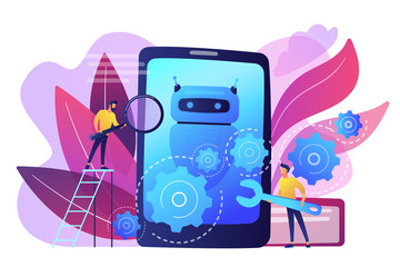 Developers with wrench work on chatbot application development. Chatbot app development, bot development framework, chatbot programming concept. Bright vibrant violet vector isolated illustration