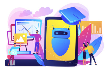 Programmers with charts make chatbot learn data from past results. Chatbot self learning, virtual assistants learning, AI machine learning concept. Bright vibrant violet vector isolated illustration