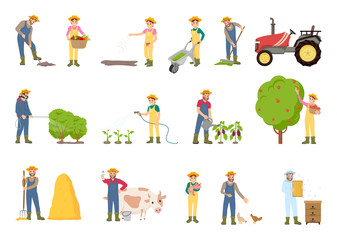 People Working on Farm, in Garden, Vector Banner