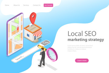 Isometric flat vector landing page for local seo, serching store, e-commerce.