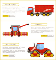 Grain Truck and Tractor Set Vector Illustration
