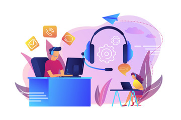 Wall Mural - Contact center agents with headsets working at computers. Contact center, customer service point, customer relationship management concept. Bright vibrant violet vector isolated illustration