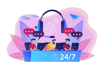 Wall Mural - Customer service operators with headsets at computers consulting clients 24 for 7. Call center, handling call system, virtual call center concept. Bright vibrant violet vector isolated illustration