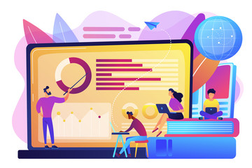 Professor with charts teaching students from laptop screen and globe. Distance education, off-campus learning, distance learning degree concept. Bright vibrant violet vector isolated illustration