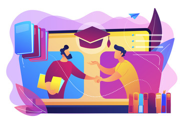 Teacher with books helping student at online lesson on laptop screen. Online tutor, on-demand homework help, english teacher online concept. Bright vibrant violet vector isolated illustration