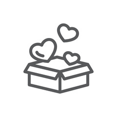 Open gift box with flying little heart shapes - romantic surprise concept in line icon with editable stroke.