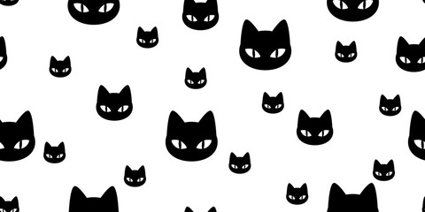 Cat seamless pattern vector kitten calico cartoon scarf isolated illustration tile background repeat wallpaper gift wrap