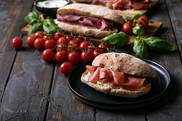 Home made ciabatta bread served with prosciutto