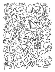 Line art doodle cartoon set of travel planning theme items, objects and symbols