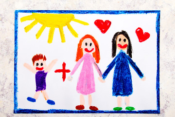 Colorful drawing: Happy lesbian parents and her adopted son. Two mothers and a child