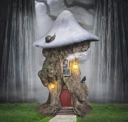 Fairytale dreamlike tree house in fantasy forest