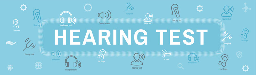 Hearing Test w Hearing Aid or loss / Sound Wave Images Set Web Header Banner