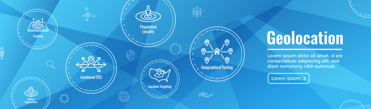 Geo Location Targeting with GPS Positioning and Geolocation Icon Set web Header Banner