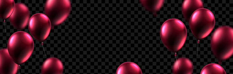 Festive banner with vinous shiny balloons on transparent backdrop.