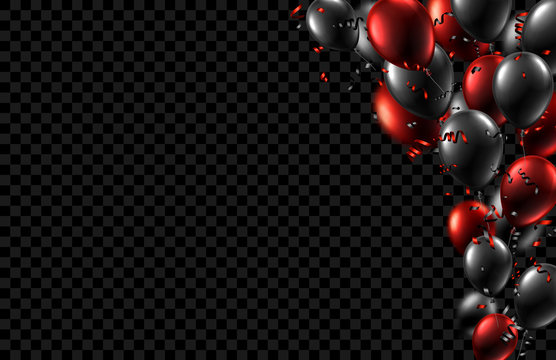 Festive background with black and red shiny balloons and confetti.