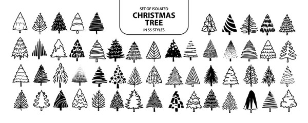 Set of isolated Christmas tree in 55 styles.