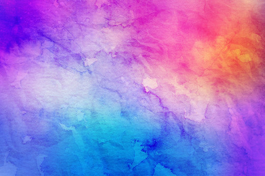 Colorful bright ink and watercolor textures on white paper background. Paint leaks and ombre effects. Hand painted abstract image.