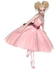 Cute Blonde Ballerina in a Pink Tutu, Facing Right - illustration