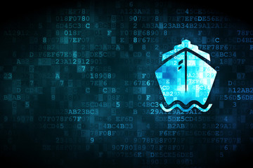 Vacation concept: pixelated Ship icon on digital background, empty copyspace for card, text, advertising Wall mural