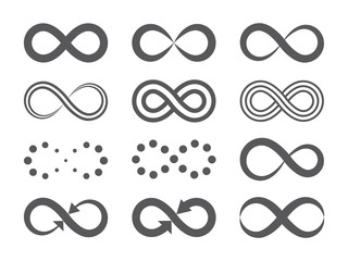 Black infinity symbols. Repetition icons and signs illustration on white background.