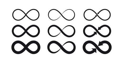 Infinity symbols. Eternal, limitless, endless, life logo or tattoo concept. Wall mural