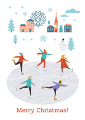 Vector flat illustration of people skating, winter scene, Merry Christmas or Happy New Year's card design