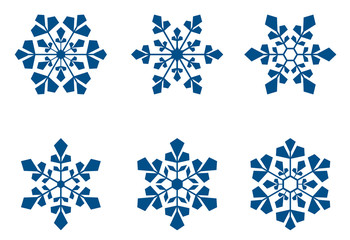 Set of blue beautiful snowflakes isolated on white background.