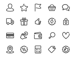 Set of thin line icons of shopping features. Collection of vector outline commerce icons