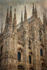 Old photo with architectonic details from the famous Milan Cathedral