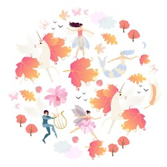 Round magical pattern with winged unicorns, mermaid, elf, fairies, autumn trees, leaves, flowers, birds, butterflies and clouds on white background in vector.
