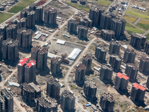 Aerial view of construction of new high rise buildings in