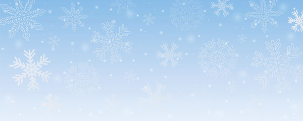 bright snowy winter background with snowflakes vector illustration EPS10
