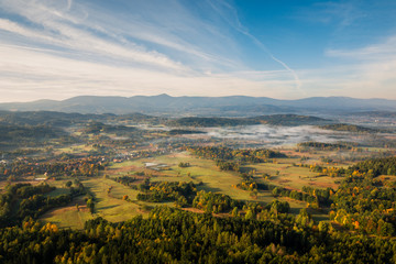 View from Krzyzna Gora in Rudawy Janowickie to Karkonosze mountains, Sudety, Poland