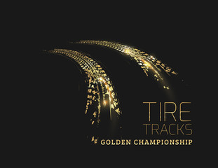 Golden tire tracks on dark background. Vector illustration