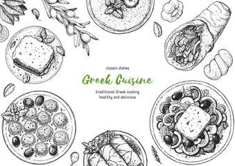 Greek cuisine top view frame. A set of greek dishes with pastitsio, keftedes, dolma, greek salad, gyros . Food menu design template. Vintage hand drawn sketch vector illustration. Engraved image.