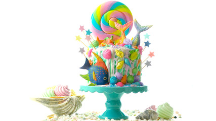 Mermaid theme candyland cake with colorful glitter tails, shells and sea creatures toppers for children's, teen's, novelty birthday and party celebrations.